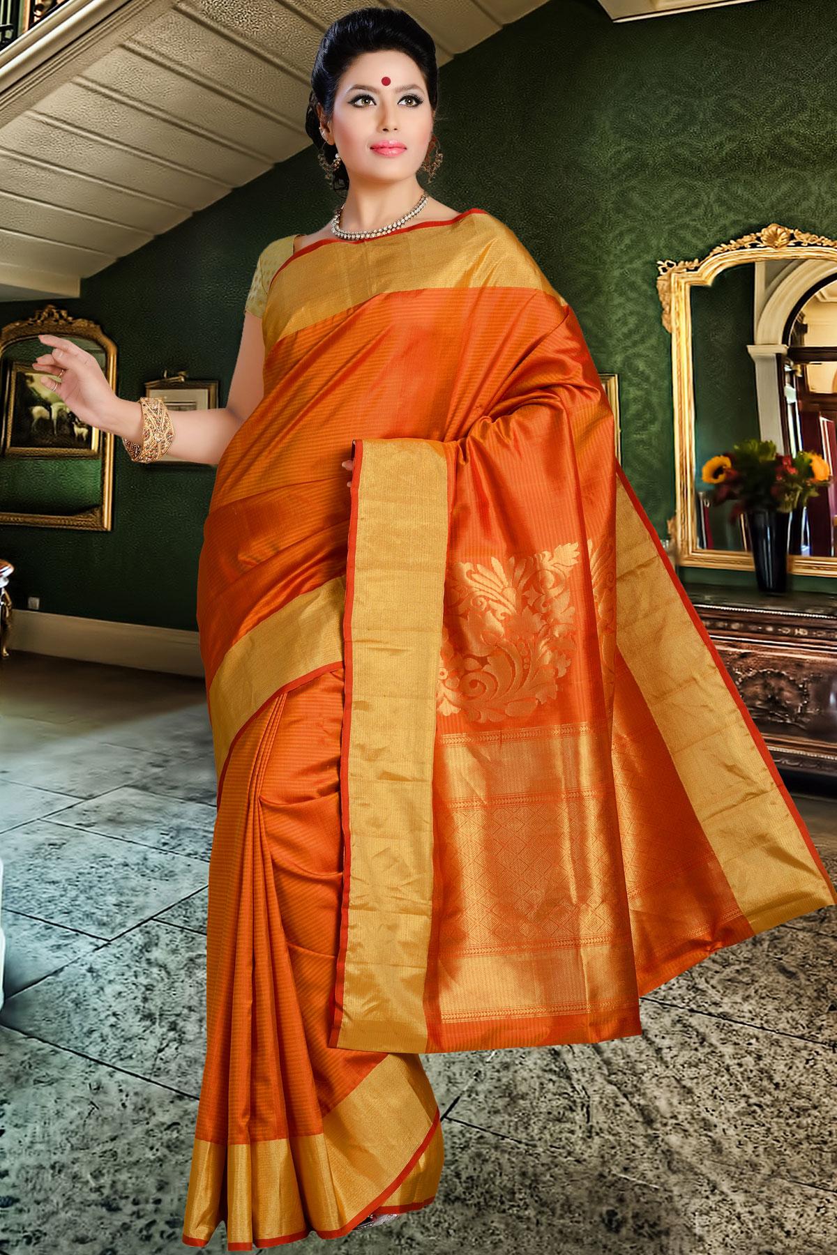 Silk Sarees in Delhi Buy Orange Pure Silk Saree in