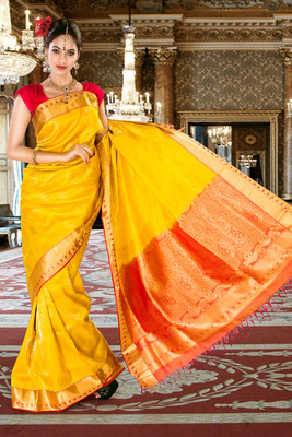 5a75aec94b Yellow pure silk zari weaved saree in orange pallu & red blouse-SR5825 - mirraw  test - 287554