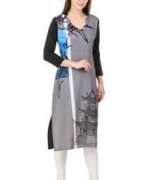 Buy Grey printed crepe stitched long-kurtis long-kurti online