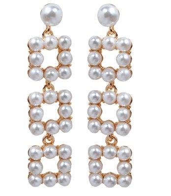 Sober White Pearl Push-Back Dangler Earrings
