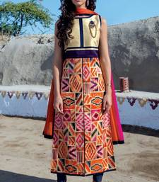 Buy multicolor stitched taffeta silk stitched kurti multicolor-kurti online
