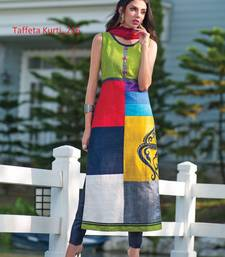 Buy multicolor stitched taffeta silk stitched kurti black-friday-deal-sale online