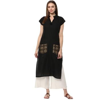 black stitched cotton stitched kurti