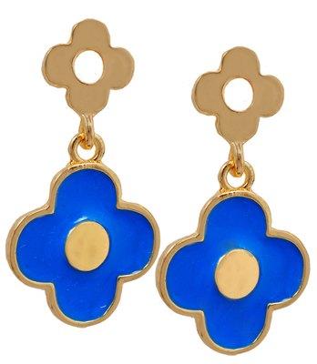 Enchanting Blue Statement Push-Back Drop Earrings