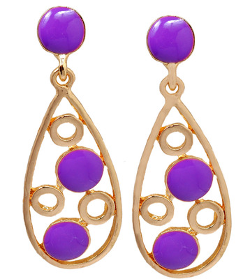 Fab Purple Statement Push-Back Dangler Earrings