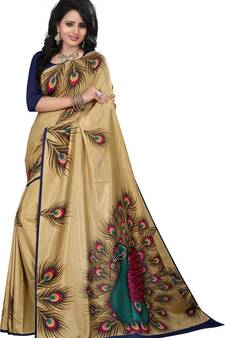 d9390060e Beige printed art silk saree with blouse