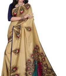 Buy Beige printed art silk saree with blouse art-silk-saree online