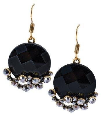 Sexy Black Stone Work Push-Back Dangler Earrings
