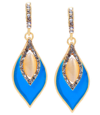 Cute Blue American Diamond Push-Back Dangler Earrings