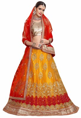 Yellow embroidered net unstitched lehenga with dupatta