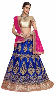 Blue embroidered net unstitched lehenga with dupatta