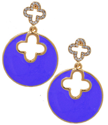 Fab Blue Statement Push-Back Drop Earrings