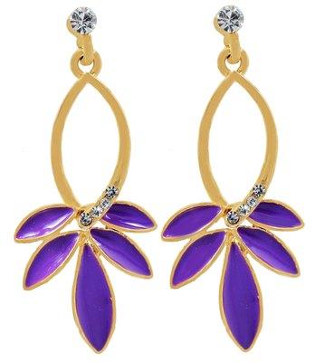 Sizzling Purple Statement Push-Back Dangler Earrings