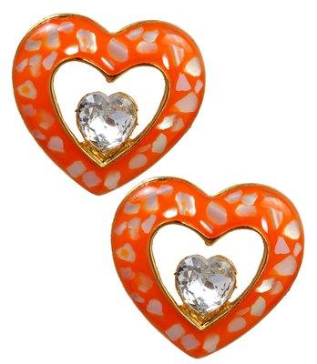 Stylish Orange Statement Push-Back Stud Earrings