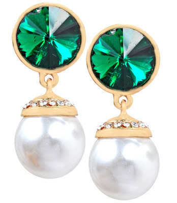 Fashionable Two-Tone Pearl Push-Back Drop Earrings
