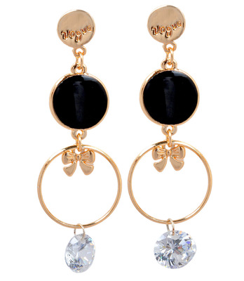 Trendy Black Statement Push-Back Dangler Earrings