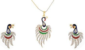 stylish American diamond Pendant set with earrings