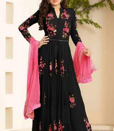 Buy Black embroidered georgette salwar with dupatta salwar-kameez-below-2000 online