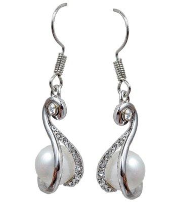 Superb Silver Pearl Fish-Hook Dangler Earrings