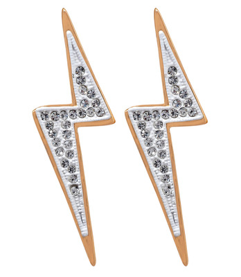Charming Two-Tone American Diamond Push-Back Drop Earrings
