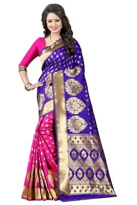 Blue Banarasi Saree With Blouse