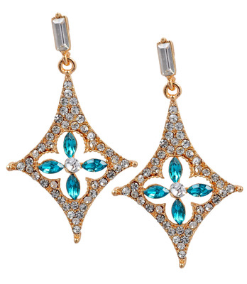 Wonderful Blue American Diamond Push-Back Drop Earrings