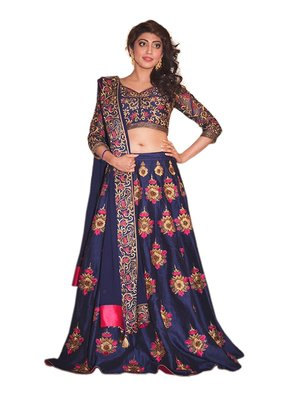 Blue embroidered dupion silk unstitched lehenga with dupatta