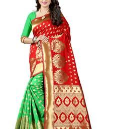 Buy Red woven art silk saree with blouse banarasi-saree online