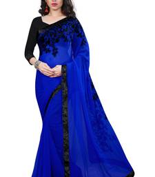 Buy Blue embroidered georgette saree with blouse fancy-saree online