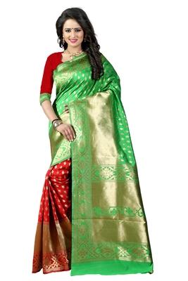 Green Woven Art Silk Saree With Blouse