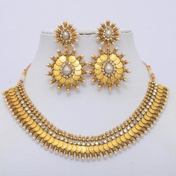 Lovable Coins Polki And Pearls Neckpiece