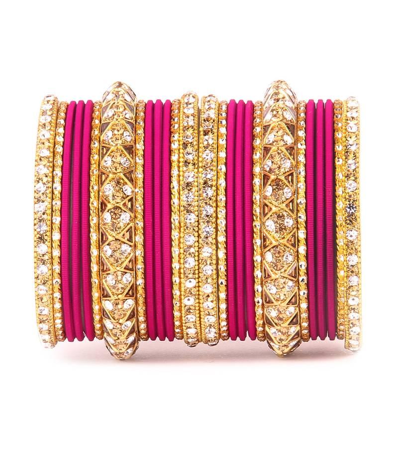 Golden Bracelet And Matte Finish Bangle Set For Women