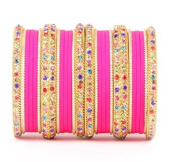 Golden Bracelet With Multi Coloured Stones And Matte Finish Bangle Set For Women
