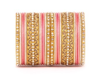 Intricate Bracelet With Running Stonework And Shinning Bangle Set For Women