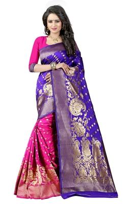 Blue Woven Banarasi Art Silk Saree With Blouse