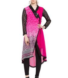 Pink printed georgette stitched long-kurtis