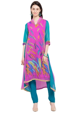 Pink Printed Georgette Stitched Long Kurtis