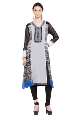 Off White Printed Georgette Stitched Long Kurtis
