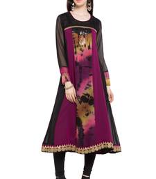 Dark Magenta Embroidered Georgette Stitched Long Kurtis