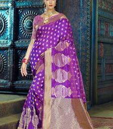 Buy Purple woven kanchipuram silk saree with blouse reception-ceremony-dress online