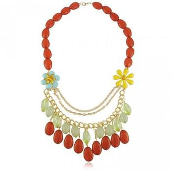 Floral rhinestones statement  necklace