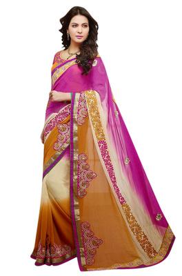 Designer Pink Cream Mustard Color Georgette Jacquard Saree With Net Blouse