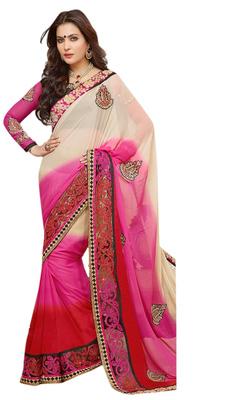 Designer Cream Pink Red Georgette Saree With Black Pink Dupion Blouse