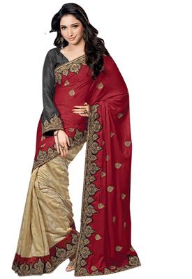 Designer Tammanh's  Wedding Party Wear half N Half Valvet brasso Red Beige Colour Saree with Black Blouse