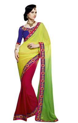 Designer Party Wedding Wear Chiffon Crepe Jacquard yellow red half N half Saree With Blue Designer Blouse