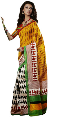 Designer Festival wear Bhagalpuri Silk Multicolor Saree With Designer Yellow Blouse