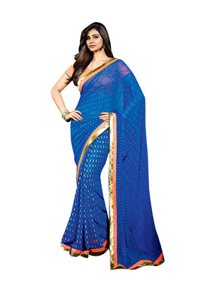 Designer Party- festival Wear Full Blue Colored Georgette Saree With Orange Blouse