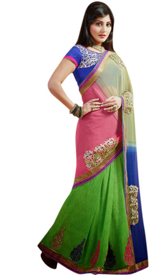 Designer Partywear Embroidered Printed Green Pink White Saree With Printed Blue Blouse With Extra Embroidered Blouse