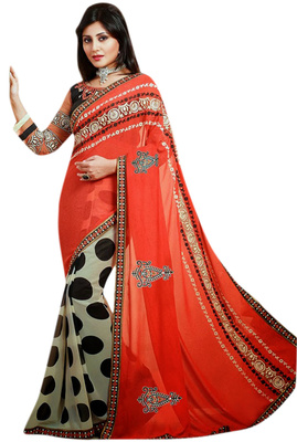Designer Partywear Embroidered Printed Orange Black Beige Saree With Printed Black Blouse With Extra Embroidered Blouse