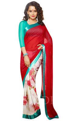 Designer Partywear Festival Wear Georgette Red White Saree With Sky Blue Blouse